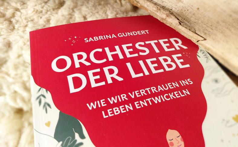 Buch -Orchester der Liebe- liegt auf einem Schaffell neben einem Holzscheid